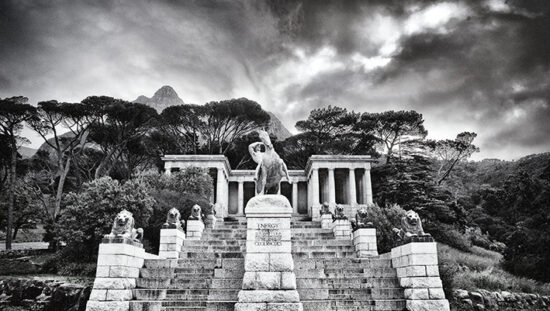 Black and white photo of the Rhodes Memorial in Cape Town