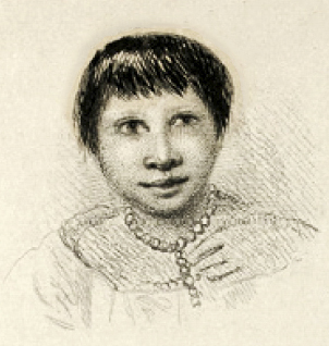 Hand drawn portrait of Fuegia Basket, dated 1833.