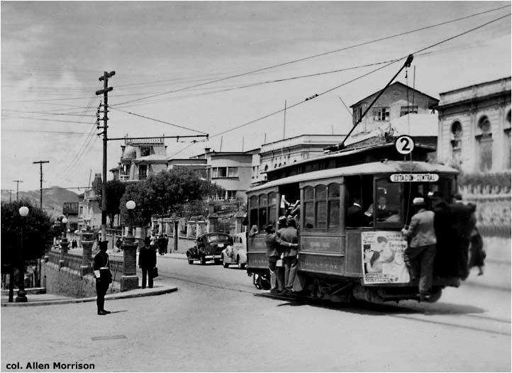 Tram wagon in La Paz city, circa 1920