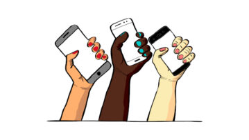 Hands holding mobile phones. Detail of the Decolonizing the Internet logo.