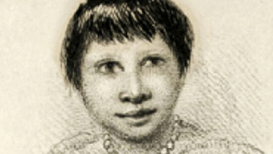 Drawn portrait of Fuegia Basket.