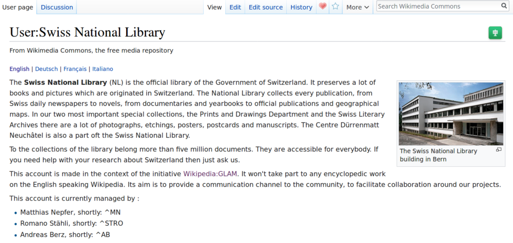 Swiss National Library on Wikimedia Commons screenshot