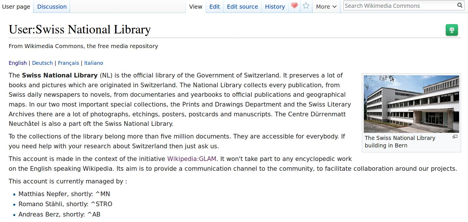 Swiss National Library on Wikimedia Commons screenshot