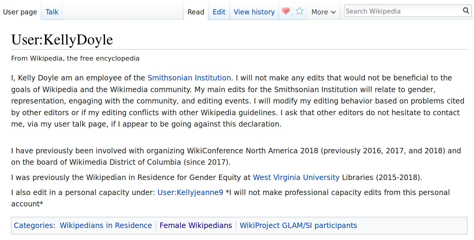 Wikipedia User Page of Kelly Doyle screenshot
