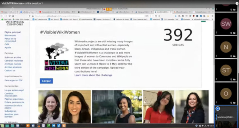 Screenshot of the VisibleWikiWomen online editathon.